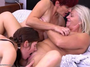 Taboo sex with granny and mom and daughter