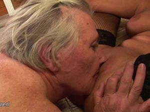 Granny takes her young lesbian maid for..