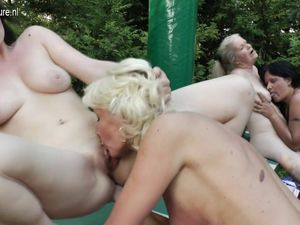 Six old and young lesbians have a dirty..