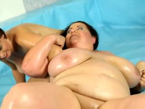 Sexual adult wrestling between 2 BBWs