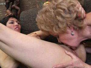 Four old and young lesbians fuck each..