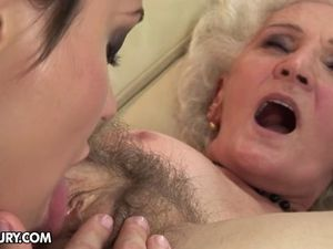 Granny with old hairy vagina fucks young..